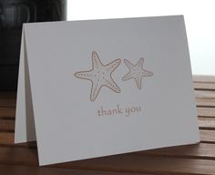 Memoravle Occasions - Starfish Personalized Note Card, Thank You Card - set of 25, Wedding, Birthday, Teacher Gift - Additional Colors Available. $15.00, via Etsy.