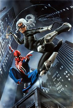 "Brand new art for ""Marvel's Spider-Man: The Heist"" from Marvel illustrator Adi Granov . Spiderman Black Cat, Black Cat Marvel, Spiderman Art, Amazing Spiderman, Hq Marvel, Marvel Dc Comics, Marvel Heroes, Marvel Venom, Playstation Store"