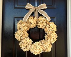 Hydrangea wreath with ribbon by ShabbyChicBySallie on Etsy Wedding Door Wreaths, Bridal Shower Wreaths, Wedding Doors, Summer Door Wreaths, Autumn Wreaths, Holiday Wreaths, Wreath Fall, Artificial White Roses, White Roses Wedding