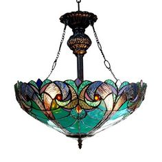 Chloe Lighting Liaison, Tiffany-Style Victorian Inverted Ceiling Pendant Fixture, Multi-colored 60 Watt max Type A Bulb Ceiling Pendant, Pendant Lighting, Glass Ceiling, Glass Lamps, Glass Art, Ceiling Fans, Stained Glass Chandelier, Crystal Lamps, Crystal Glassware