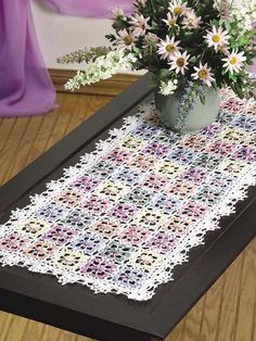 Dappled Blossoms Table Runner - free membership required for pattern