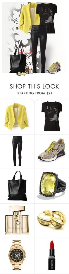 """Black & Yellow for friday happy hour"" by tais-escobar ❤ liked on Polyvore featuring Élitis, A.F. Vandevorst, Citizens of Humanity, Ash, London Edit, David Yurman, Gucci, Huggies, Michael Kors and Smashbox"