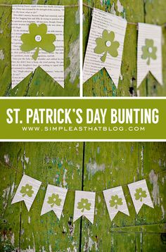 Simple St. Patrick's Day Bunting using a thrift store book (for pages) and green cardstock