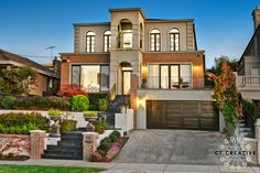 Facade in Melbourne. Photography by CT Creative. Tile Steps, Real Estate Photography, Facades, Melbourne, Charcoal, Mansions, House Styles, Creative, Garden