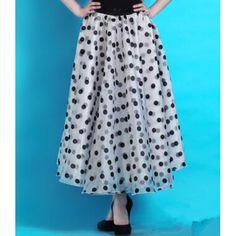Women's polka dot chiffon waltz tango ballroom dance skirt