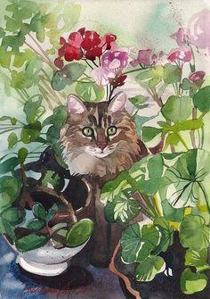 TABBY CAT KITTY KITTEN GREY FUZZY IN FLOWERS GARDEN PRINT OF ...