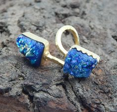 22k Yellow Gold Plated Two Gemstone Blue Druzy Hammered Finished Ring Handmade Jewelry Collection