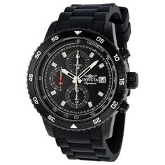 Invicta Signature II Chronograph Black Dial Black Ion-plated Mens Watch 7399