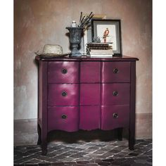 Wooden chest of drawers in purple W 90cm Figue | Maisons du Monde