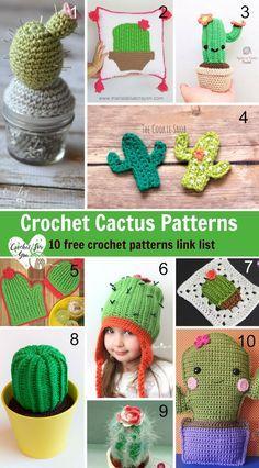 Crochet Cactus Patterns - 10 free crochet pattern link list. #crochet #crochetcactus #roundup #freecrochetpatterns #crochetforyoublog