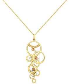 SIS by Simone I Smith 18k Gold over Sterling Silver Necklace, Crystal Multi Circle Drop Pendant