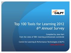 Top 100 Tools for Learning  |  by Jane Hart  |  #education  |  via #Slideshare