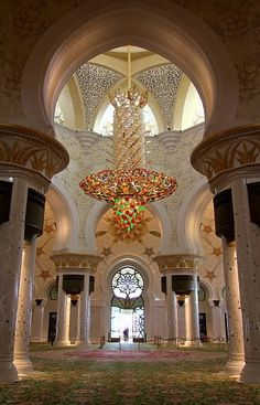 The interior of the Sheikh Zayed Mosque in Abu Dhabi, UAE