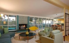 living room, ranch, mid-century modern, Edward H. Fickett, post and beam