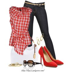 A fashion look from February 2014 featuring red sleeveless top, dark blue jeans and red shoes. Browse and shop related looks.