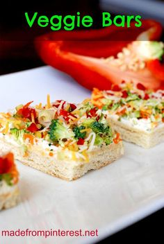 Veggie Bars - light, fresh and a great appetizer for summer.... (TG - I liked these. Bit of work chopping all the veggies but I think the finer pieces the better it blends flavors.)