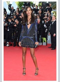 74e0525f51d94 Liya Kebede in Roberto Cavalli embellished shirt-dress with sandals at   Cannes2014 Red Carpet