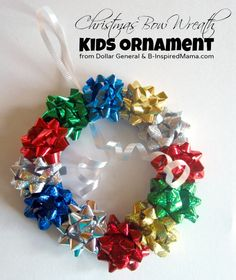 Have your kids made any Christmas ornaments this year?  Here's a really quick and easy Christmas ornament craft using inexpensive Dollar General holiday wrapping supplies! B-InspiredMama.com