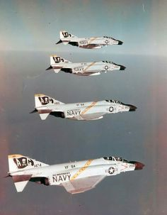 Phantom IIs of Fighter Squadron (VF) the Jolly Rogers, pictured in formation in 1964 Military Jets, Military Aircraft, Air Fighter, Fighter Jets, Drones, Us Navy Aircraft, F4 Phantom, Jolly Roger, Armada
