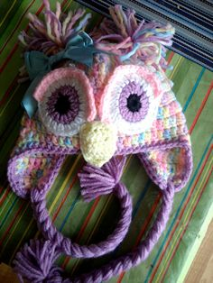 This pastel owl hat is my most popular by far! With Easter right around the corner, it is perfect for any little girl!