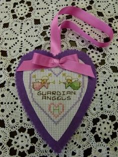 Guardian Angel Beginner Cross Stitch Kit - attached to a felt heart this may be tied to a door knob or bead post as a reminder of love and protection.