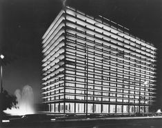 The LADWP's John Ferraro Building at night, downtown Los Angeles, 1966
