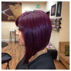 Purple hair might not be for everyone, but it's an excellent color idea for those with bold personalities. When used as hair dye, purple can vary from silvery lavender all the way to deep. Plum Hair, Burgundy Hair, Purple Hair, Purple Bob, Purple Pixie, Burgundy Color, Haircut And Color, Hair Color And Cut, Short Hair Cuts