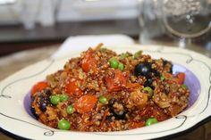 Quinoa paella (http://wholelivingdaily.wholeliving.com/2012/08/meatless-mondays-quinoa-paella.html)