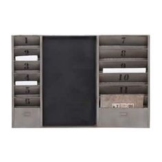 Sort your mail in rustic style with the DecMode Metal Message Board . A chalkboard placed between two panels of numbered slots provides a place for you. Industrial Chic, Industrial Furniture, Furniture Decor, Modern Furniture, Entryway Furniture, Industrial Office, White Furniture, Kitchen Furniture, Vintage Furniture