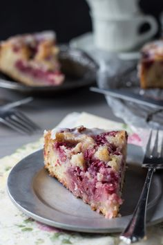 Raspberry Lemon Sweet Roll Cake with Buttermilk Glaze