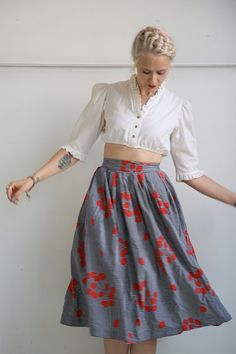 RESERVED // 1950s Skirt //  Blooming Stripes // от dethrosevintage