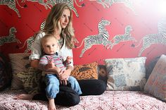"""""""The wallpaper has a lot of meaning...we thought it would be whimsical, but not too 'baby' for Maxwell's room."""" —Rachelle Hruska  http://www.theglow.com/rachelle-hruska/?i#1"""