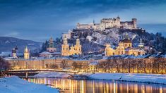 #Hohensalzburg #Castle, #Austria This castle sits atop the #Festungsberg, a small hill in the Austrian city of #Salzburg. Erected at the behest of the Prince-Archbishops of Salzburg it is one of the largest medieval #castles in #Europe #Travel #VisitAustria #Snow #Winter #Trip