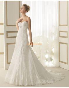 Elegante Herz-Ausschnitt trägerlose Hochzeitskleider aus Softnetz 157 ESPARTA | luna novias 2014