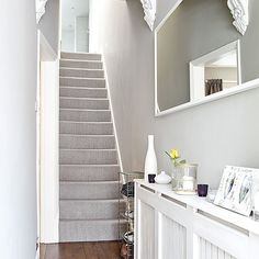 Fabulous light grey carpet grey traditional hallway with laminate flooring light grey carpet dark grey walls Grey Hallway, Tiled Hallway, Hallway Carpet, Carpet Stairs, Modern Hallway, Wall Carpet, Hallway Mirror, Basement Carpet, Grey Stair Carpet