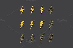 Vector Lightning Icon Set by Decorwith.me Shop on Creative Market