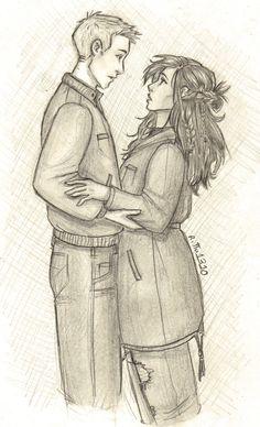 """ritta1310: """"Jason y Piper boceto de nuevo en que los primeros capítulos del héroe pierde cuando se enteran de que Jason puede volar. Más de mi arte: tumblr, deviantart, Instagram """""""