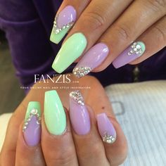 pastel purple and mint nails with crystals in our nailgallery at www.fanzis.com - By @Taraasnaglar (instagram)