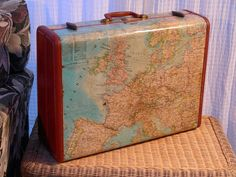 Vintage Suitcase Decoupaged with Maps by DestinationsVintage Vintage Suitcases, Vintage Luggage, Vintage Maps, Vintage Travel, Etsy Vintage, Vintage Suitcase Table, Suitcase Card Box, Decoupage Suitcase, Globe Crafts