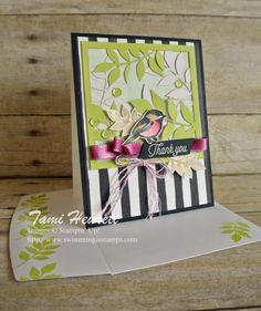 Flora & Flutter Petal Passion DSP, Petal Palette bird, Petals & More thinlits, Berry Burst metallic edge ribbon Stampin Up Paper Pumpkin, Pumpkin Cards, Bee Cards, Card Sketches, Card Tags, Stamping Up, Homemade Cards, Stampin Up Cards, Making Ideas