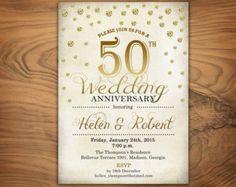 50th Anniversary Invitation Gold Party Invite By Announceitfavors
