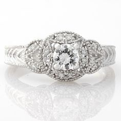 .75CT ROUND CUT DIAMOND SOLITAIRE VINTAGE ENGAGEMENT RING WHITE GOLD 14K F COLOR