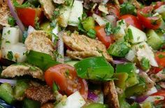 I love Fattoush. Bread Salad, Pita Bread, Caprese Salad, Cobb Salad, Green Bell Peppers, Fresh Mint, Arugula, Lettuce, Cucumber