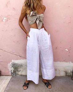 The Micky Bandeau + Akello Pant + St Tropez Slides ✨ Fashion Looks, Suit Fashion, Summer Outfits, Cute Outfits, Inspired Outfits, Printed Skirts, Wide Leg Pants, Style Me, Pants For Women