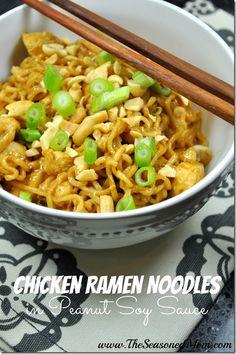 Chicken Ramen Noodles in Peanut Soy Sauce.