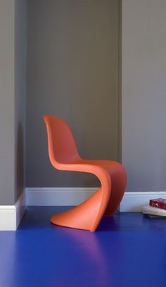 Bright vinyl flooring can be modern and fun without being childish.