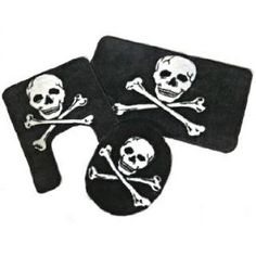 * Skull Crossbones Bath Mat Rug Set * Good Halloween Decoration