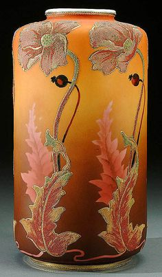 A NIPPON CORALENE DECORATED PORCELAIN VASE circa 1909 WITH BEADED GLASS DECORATION OF STYLIZED REPEATING THISTLE BLOSSOMS AND LEAVES ONASHADED AN]MBER GROUND