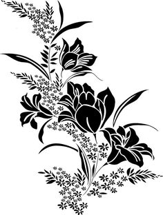 White Flower Png, Black And White Flowers, Black N White, Solid Black, Geometric Flower, Geometric Art, Beautiful Flower Drawings, Beautiful Flowers, Flower Outline