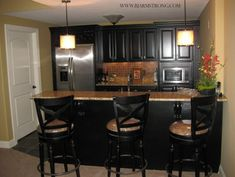 Basement Wet Bar with Granite Countertops and Stainless Steel Appliances traditional kitchen